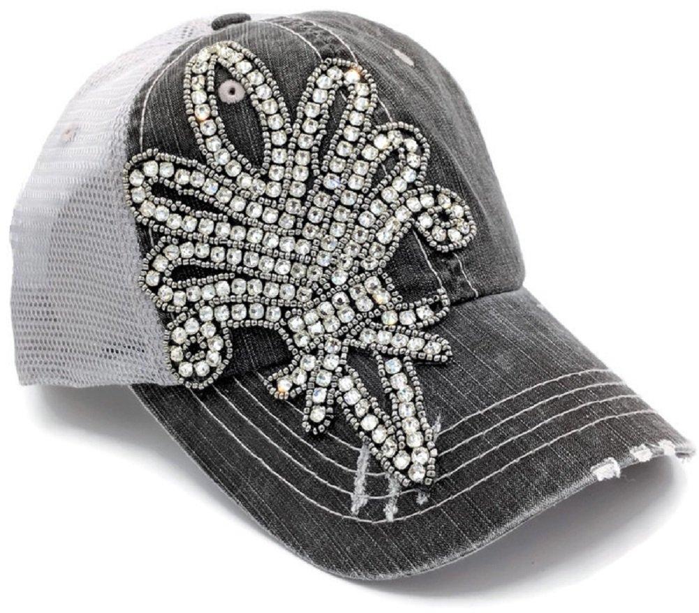 Olive & Pique Women's Bling Fleur De Lis Washed Trucker Cap (Grey)