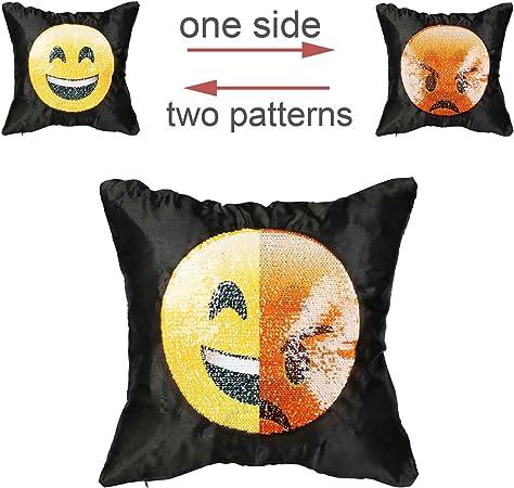 16 x 16 Vlovelife 40,6/x 40,6/cm Housse de coussin emoji oreiller d/écoratif Coque interchangeable Funny Smiley Taie doreiller #1 r/éversible /à paillettes Mermaid Taie doreiller