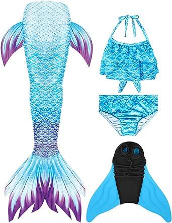 Wishliker Cola de Sirena Traje de Baño con Aleta Niñas para Nadar Cosplay Baño Conjuntos