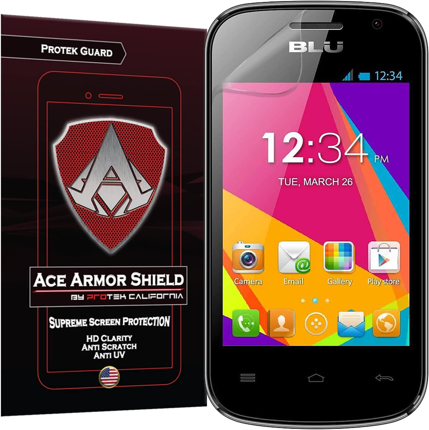 Ace Armor Shield Protek Guard (2 Pack) Screen Protector for The Blu Dash JR D141W with Free Lifetime Replacement Warranty