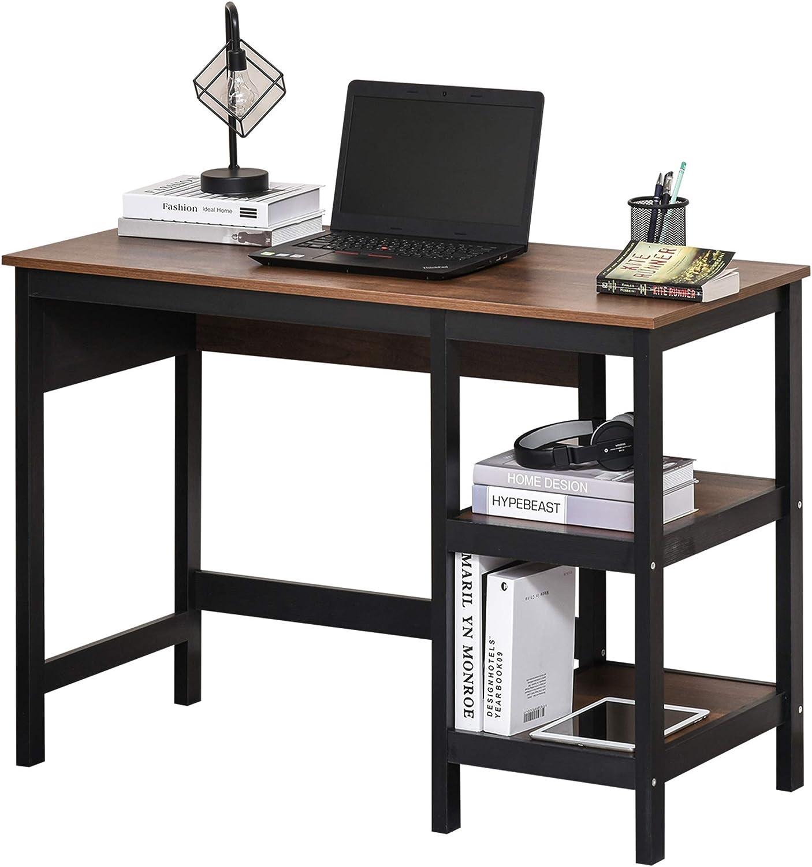 HOMCOM Home Office Desk, Writing Table Laptop Workstation with Display Shelves, Black