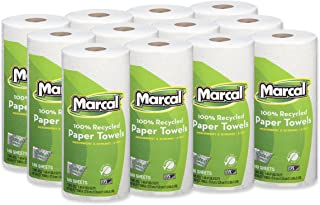 "product image for Marcal Paper Towels U-Size-It Sheets 2 Ply 140 Sheets Per Roll 100% Recycled - 12 ""Roll Out"" Rolls Per Case Green Seal Certified Paper Towel Rolls 06183,White"