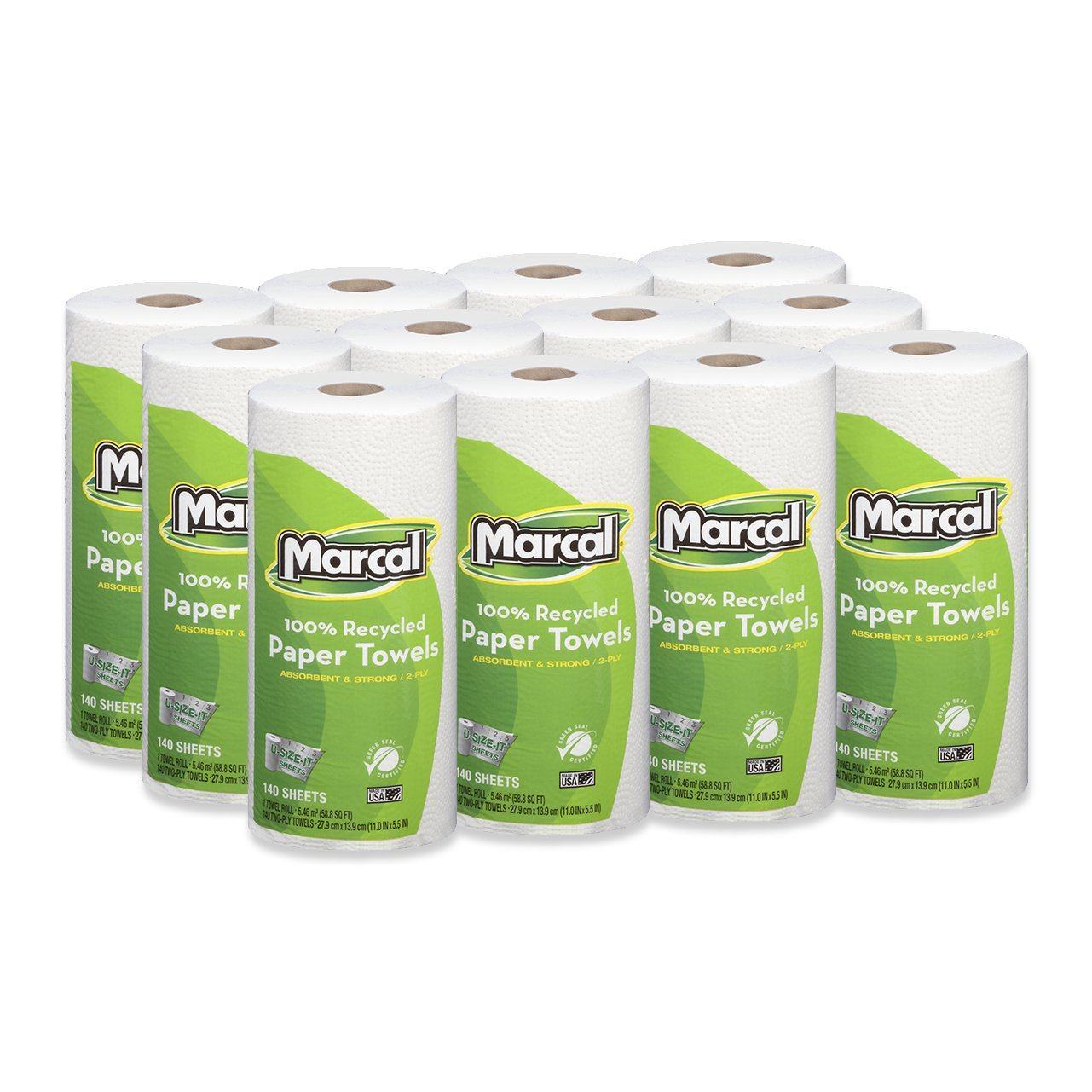 Marcal Paper Towels U-Size-It Sheets 2 Ply 140 Sheets Per Roll 100% Recycled - 12 ''Roll Out'' Rolls Per Case Green Seal Certified Paper Towel Rolls 06183