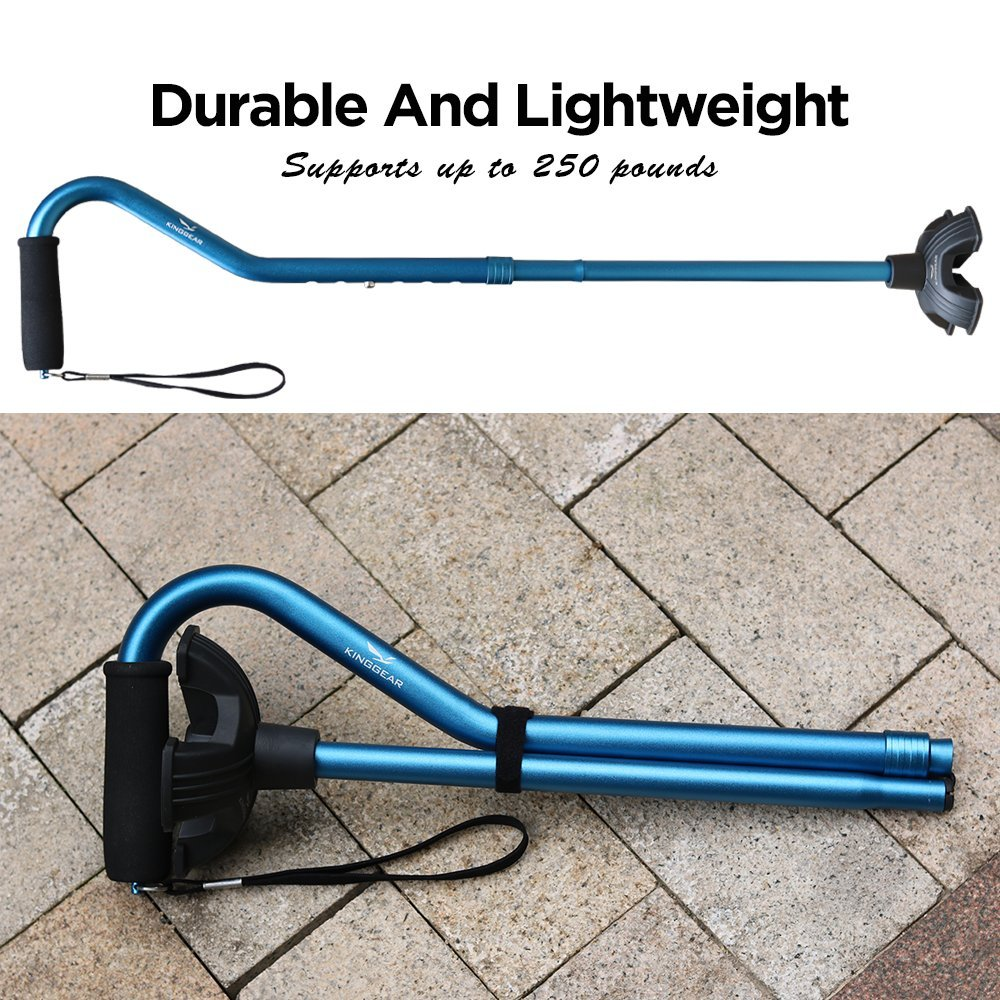 KingGear Adjustable Cane for Men & Women - Lightweight & Sturdy Offset Walking Stick - Mobility Aid for Elderly, Seniors & Handicap (Blue) by KINGGEAR (Image #5)