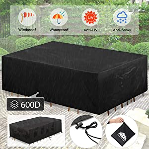 king do way Outdoor Patio Furniture Covers, Extra Large Patio Furniture Set Covers Waterproof, Anti-UV, Dust-Proof Patio Furniture Covers Fits 12-14Seat 137.8'' X102.4'' X 35.4'' (600D)