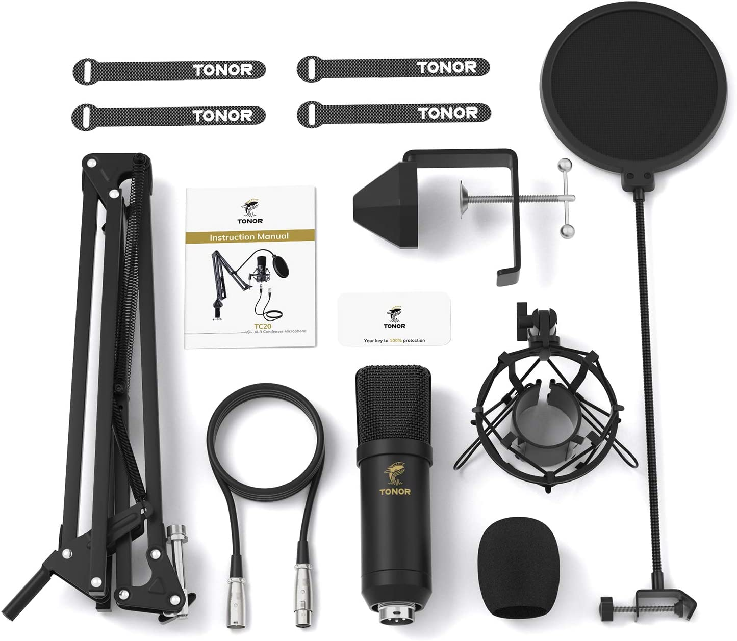 Voice Over Streaming Home Studio XLR Condenser Microphone TONOR Professional Cardioid Studio Mic Kit with T20 Boom Arm TC20 YouTube Podcasting Shock Mount Pop Filter for Recording