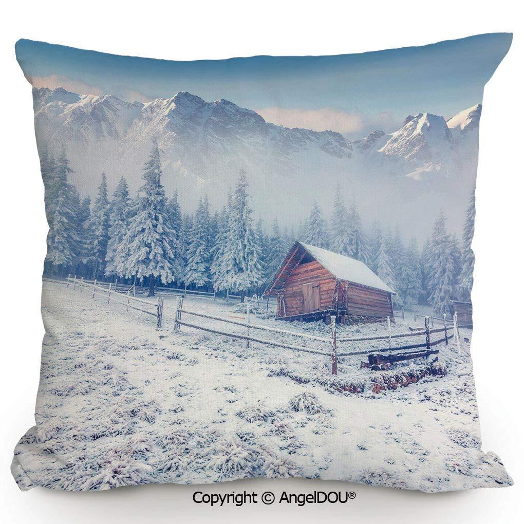 Amazon.com: AngelDOU Cotton Linen Square Throw Pillow,Old ...