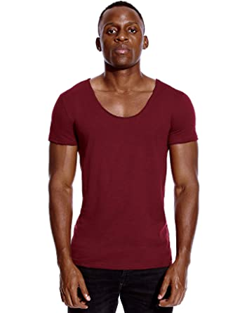 962151fb0b94 Deep V Neck T Shirt for Men Low Cut Scoop Invisible Tee Vee Top Burgundy Red