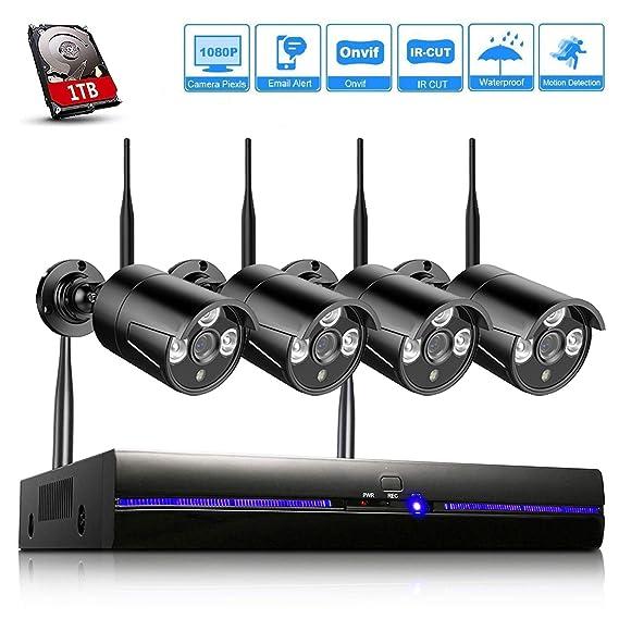 H.265 Kit Cámaras de Vigilancia Wifi Exterior 1080P, 4CH NVR Sistema de Seguridad Inalámbrico con 1TB HDD, Visión Nocturna, Detector de Movimiento, ...