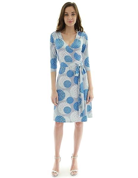 PattyBoutik Mujer geométrica de imitación Envolver un Vestido de línea (Gris Claro, Azul y