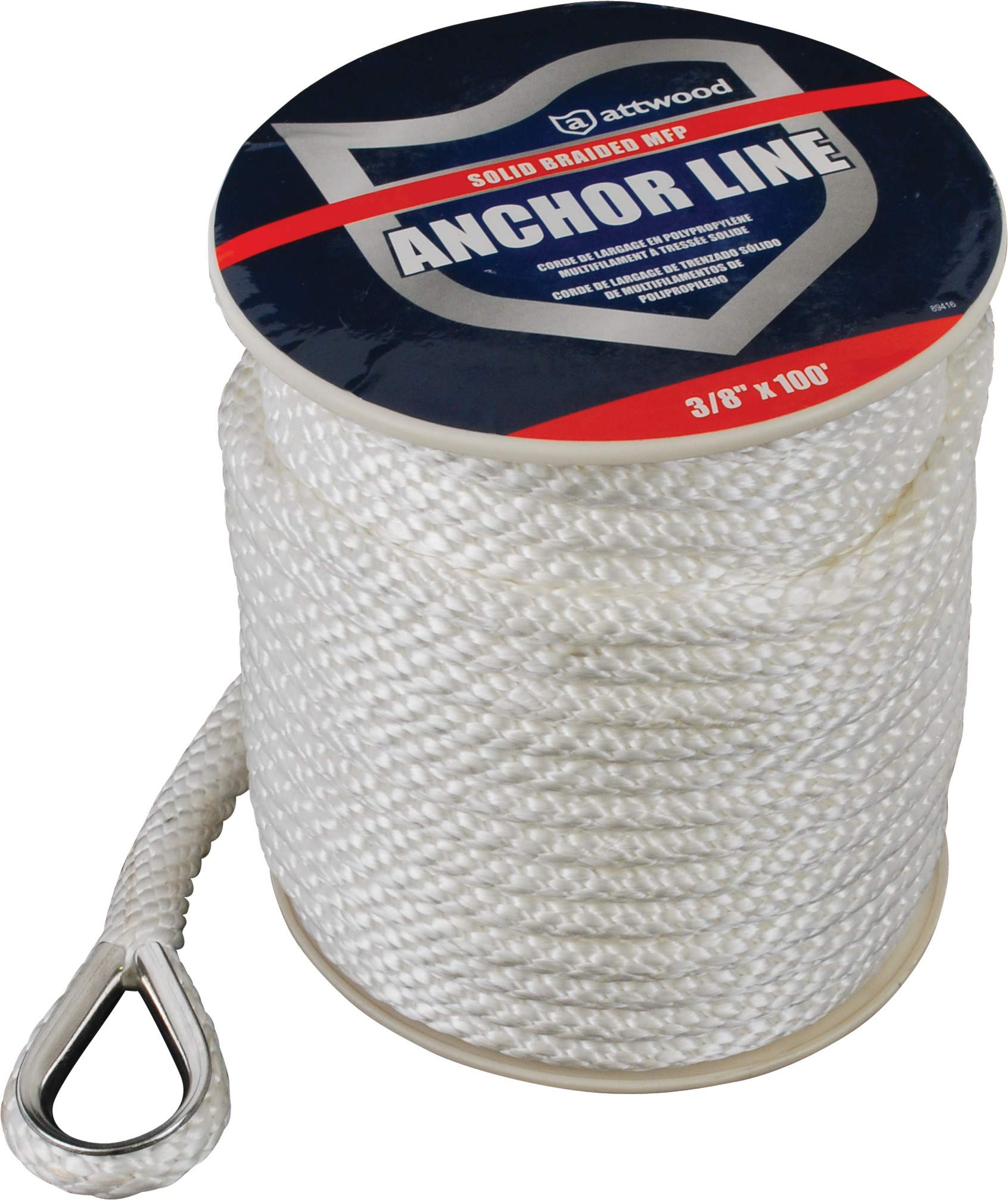 Attwood 11724-1 Solid Braid MFP Anchor Line with Thimble (White, 3/8-Inch x 100-Feet) by attwood