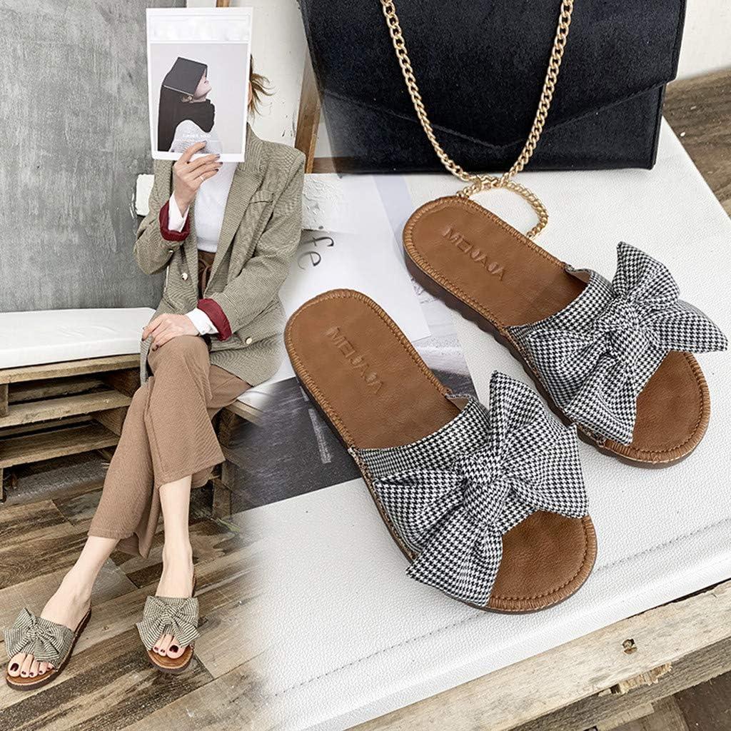 Womens Flat Slippers Bow Platform Sandals Summer Flip Flops Non-Slip Beach Pumps Dress Shoes for Women