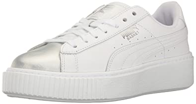 85c7f023bc74 PUMA Women s Basket Platform Iridescent Field Hockey Shoe White-Bluefish