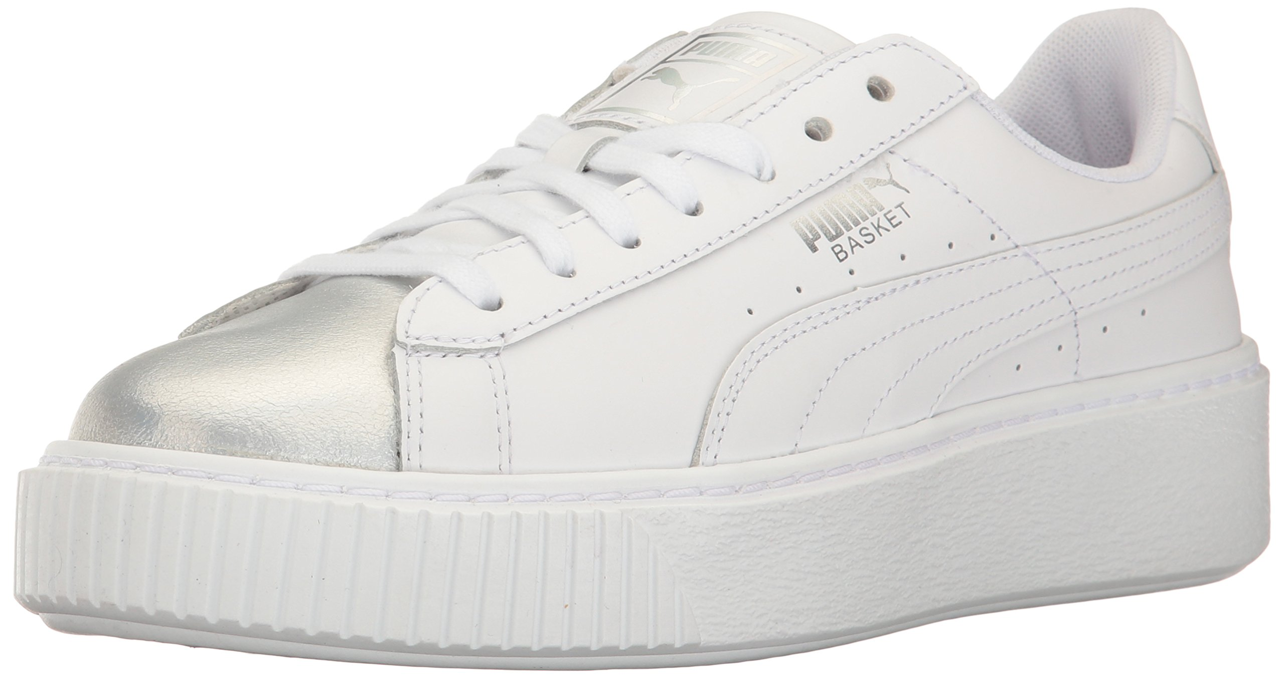 PUMA Women's Basket Platform Iridescent Field Hockey Shoe, White-Bluefish, 7 M US