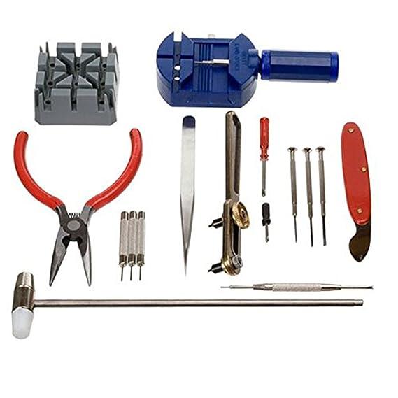 Kit de herramientas de reparación para reloj de 16 piezas, herramienta para quitar eslabones y correas, relojero ZX: Amazon.es: Relojes