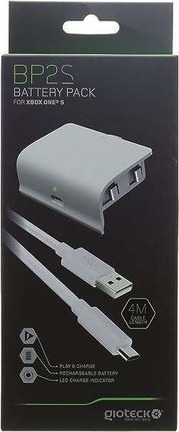 Gioteck - Gioteck - Pack de bateria de color blanco Gioteck BP2 S para mandos Xbox One de 800 mAh con cable carga y juega USB de 4m (Xbox One) (Xbox One):