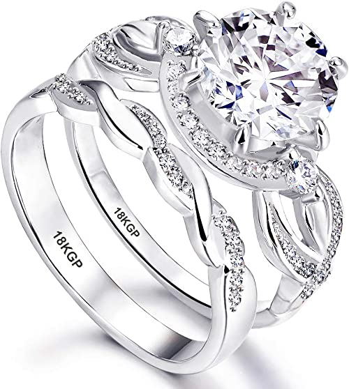 Amazon Com Wedding Ring Set Engagement White Gold Plated 18k
