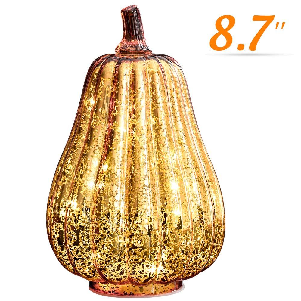 Halloween Pumpkin Lantern Light, JackoLantern Decorative Pumpkins Mercury Glass Decor Fall Decorations led Timer Candles Battery Operated Medium (L-Gold)