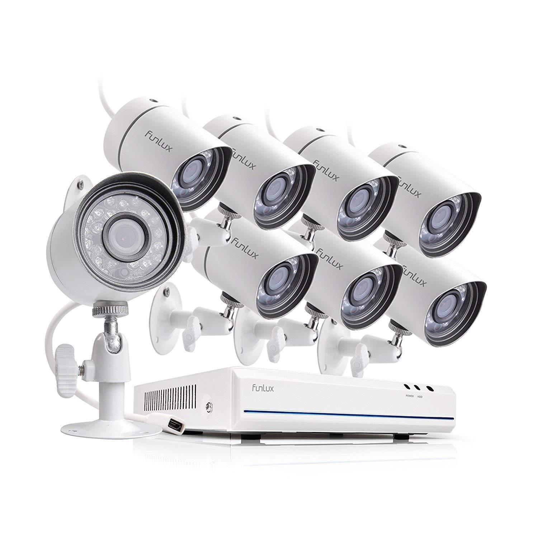 Wei/ß Funlux CCTV 8 Kanal HDMI NVR sPoE 720P /Überwachungssystem mit 8 Sicherheitskamera Set Outdoor Netzwerk f/ür Aussen//Innen mit 2TB Festplatte