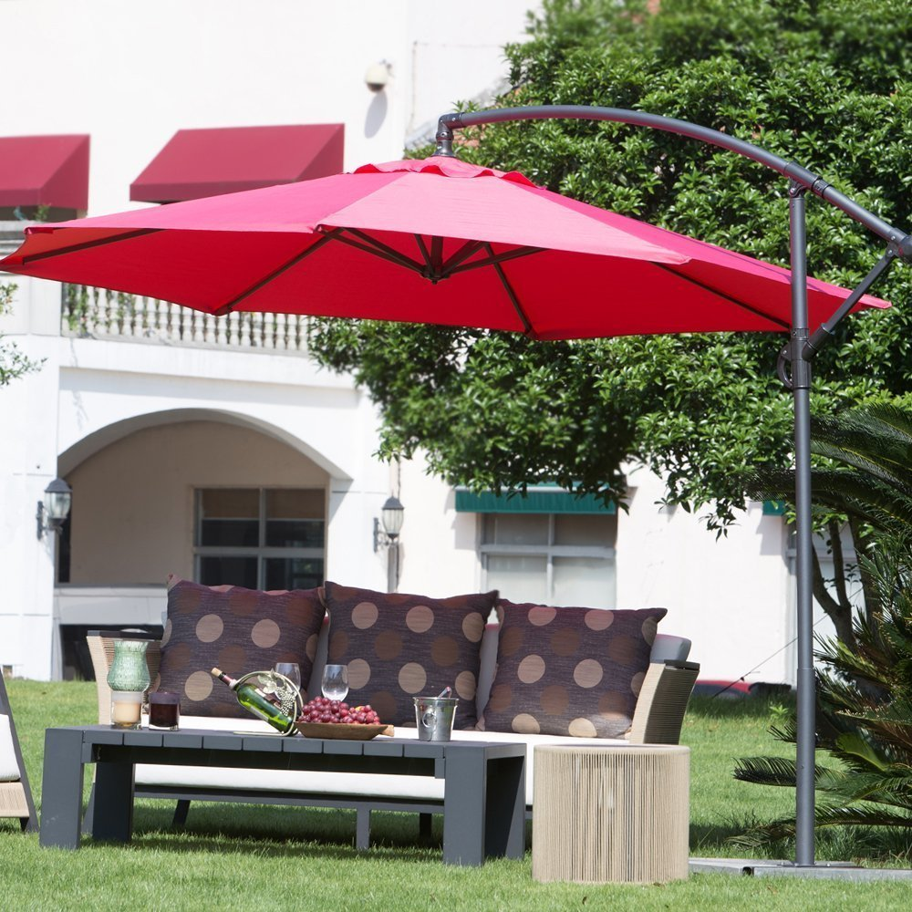 Abba Patio 10 Ft Offset Cantilever Patio Umbrella with Base and Crank, Air Vented Top, Red