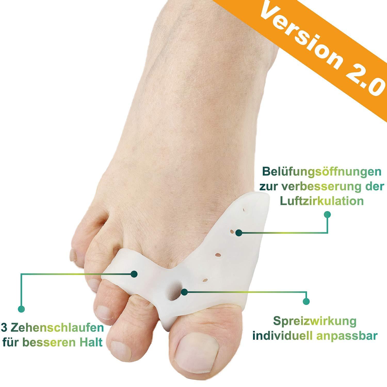 ValgoFit® Corrector de juanetes contra el Hallux Valgus - Separadores de dedos Alivio incl. banda de ejercicio gratuita -Férula Nocturno Velcro - Con ...