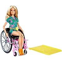 Barbie Fashionistas Doll #165, with Wheelchair & Long Blonde Hair Wearing Tropical Romper, Orange Shoes & Lemon Fanny…