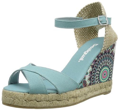DESIGUAL Esparto Bloque Alto - Zapatillas de casa de material sintético mujer, color verde, talla 36: Amazon.es: Zapatos y complementos