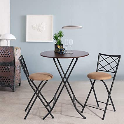 Awe Inspiring Framodo 3 Piece Folding Counter Height Pub Dining Table Set No Assembly Round High Breakfast Table With 2 Cushioned Folding Bar Stool Chairs Pdpeps Interior Chair Design Pdpepsorg