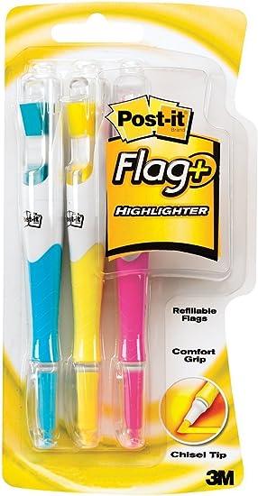 Post-it Bandera + subrayador, Amarillo, Rosa y Azul, 50-color coordinada Banderas/subrayador, 3-Pack: Amazon.es: Oficina y papelería