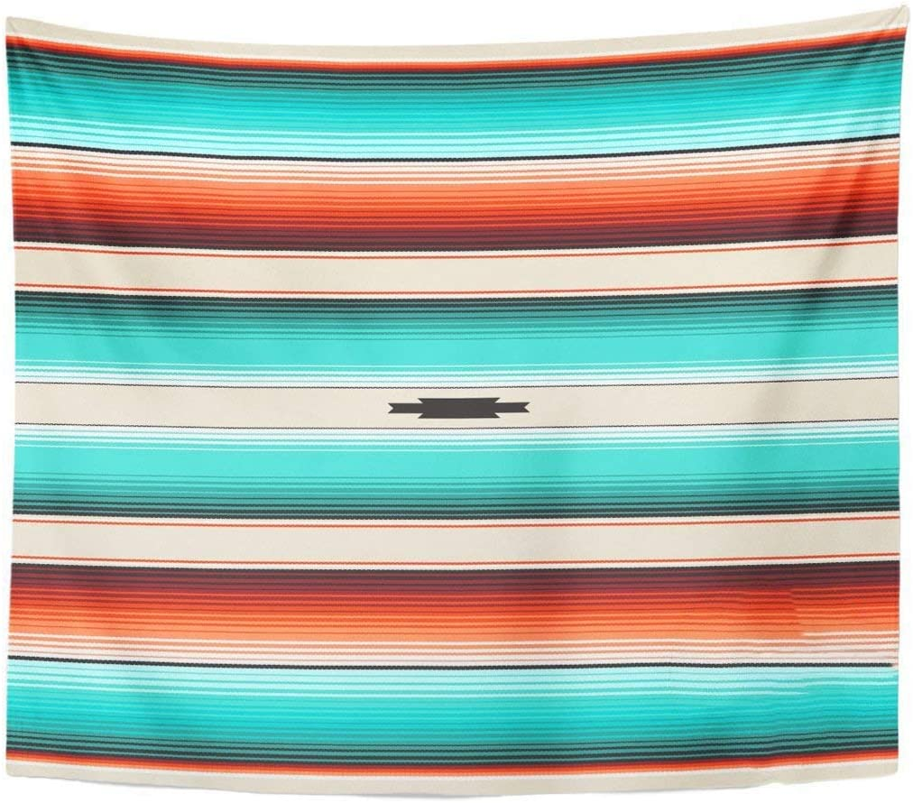 Remain Unique Tapestry Turquoise Orange Navajo White Stripes Mexican Serape with Threads Native American Ethnic Boho Wall Hang Decor Indoor House Made in Soft