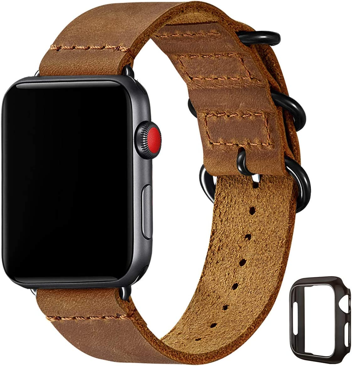 Vintage Leather Bands Compatible with Apple Watch Band 42mm 44mm,Genuine Leather Retro Strap Compatible for Men Women iWatch SE Series 6/5/4/3/2/1(Light Brown/Black,42mm 44mm)