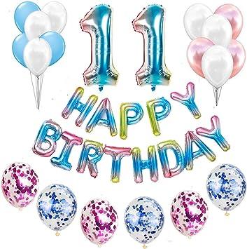 Juego de decoración para cumpleaños número 11 para niñas, jóvenes, arco iris, decoración de cumpleaños para niños, globos con guirnalda Happy Birthday para géneros, chicas jóvenes y mujeres