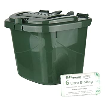 green 5l vented kitchen compost caddy u0026 50x 6l biobags composting bin for food waste