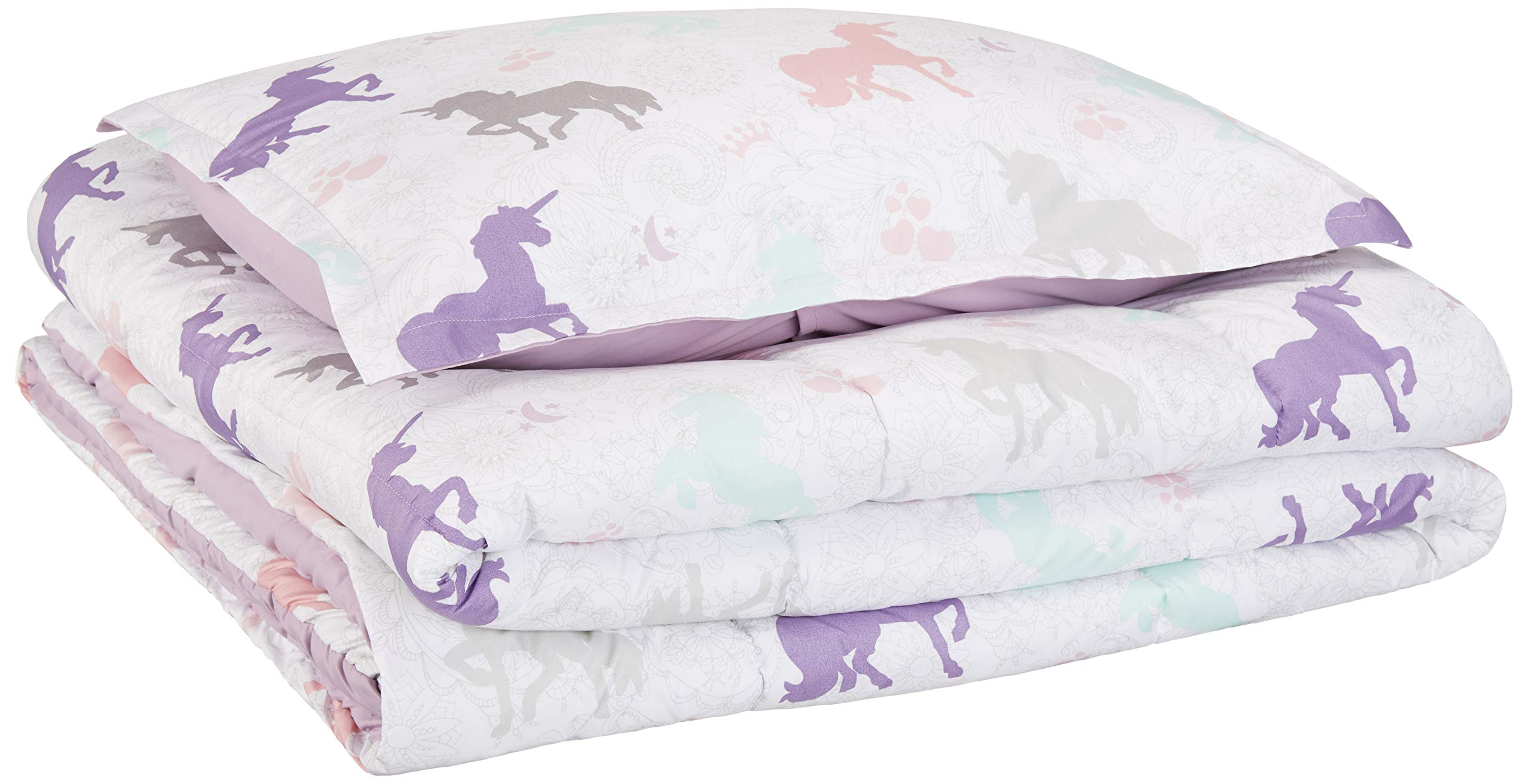 AmazonBasics Kid's Comforter Set - Soft, Easy-Wash Microfiber - Twin, Purple Unicorns