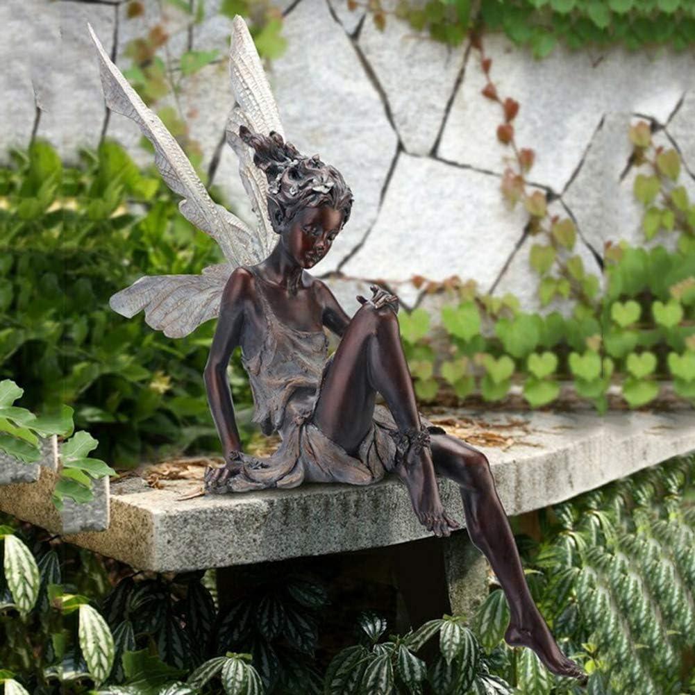 Sitting Fairy Statue, Resin Craft Landscaping Yard Decoration, Garden Figurine Ornament Art for Home Decor