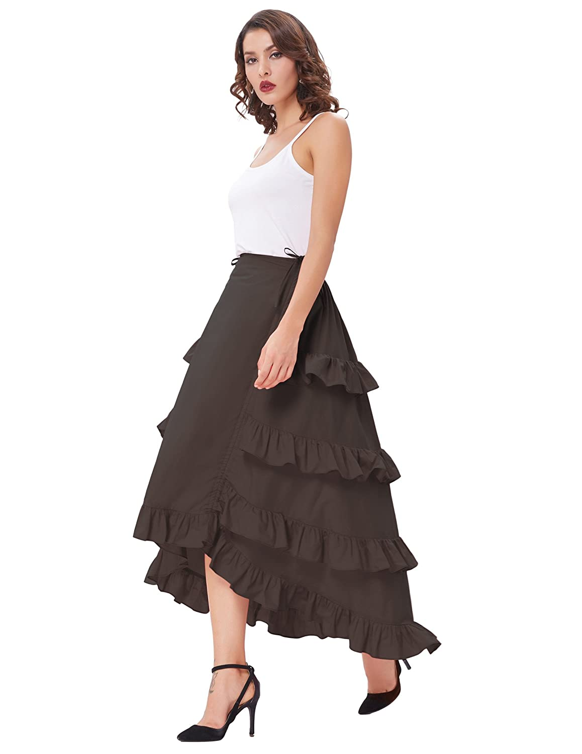 Steampunk Skirts | Bustle Skirts, Lace Skirts, Ruffle Skirts Belle Poque Womens Custom Steampunk Cocktail Party Skirts Black $25.99 AT vintagedancer.com