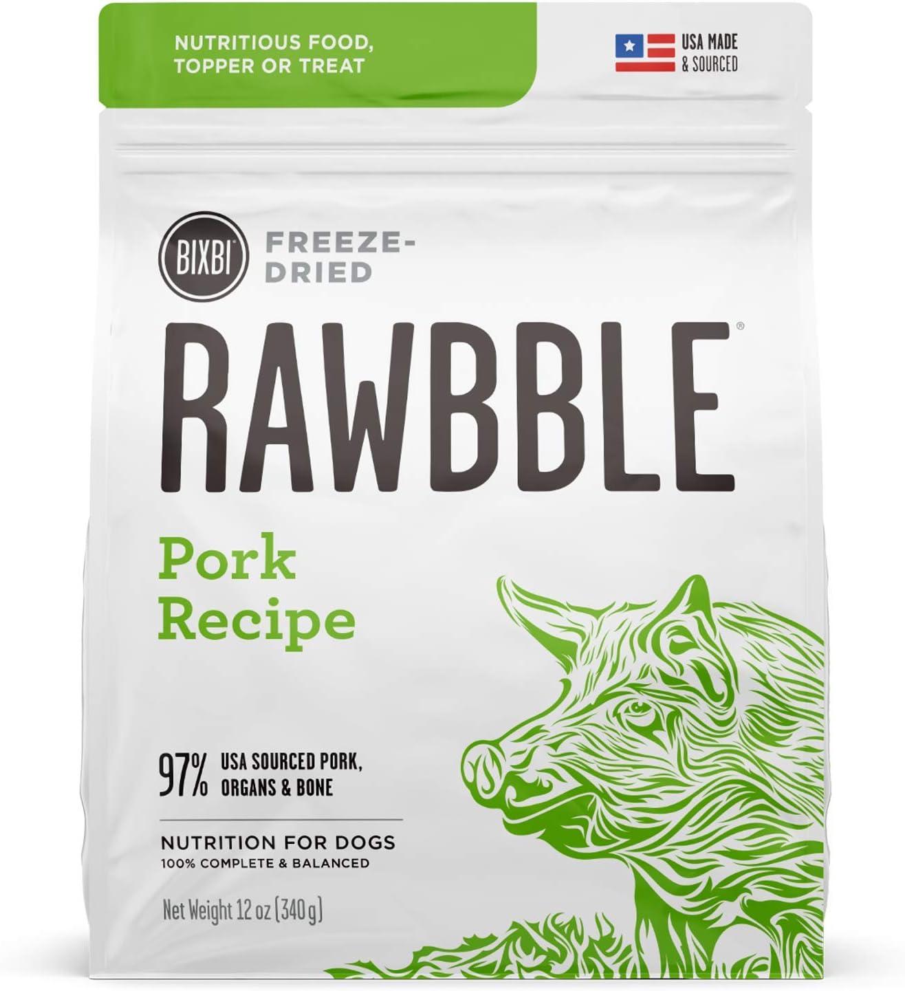 BIXBI Rawbble Freeze Dried Dog Food, Pork Recipe, 12 Ounce