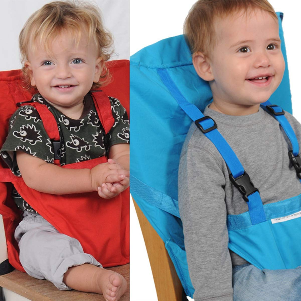 Color : Navy Blue Portable Baby Feeding Seat Safety Belt Infant Travel Foldable Dinning High Chair Cover Safety Harness