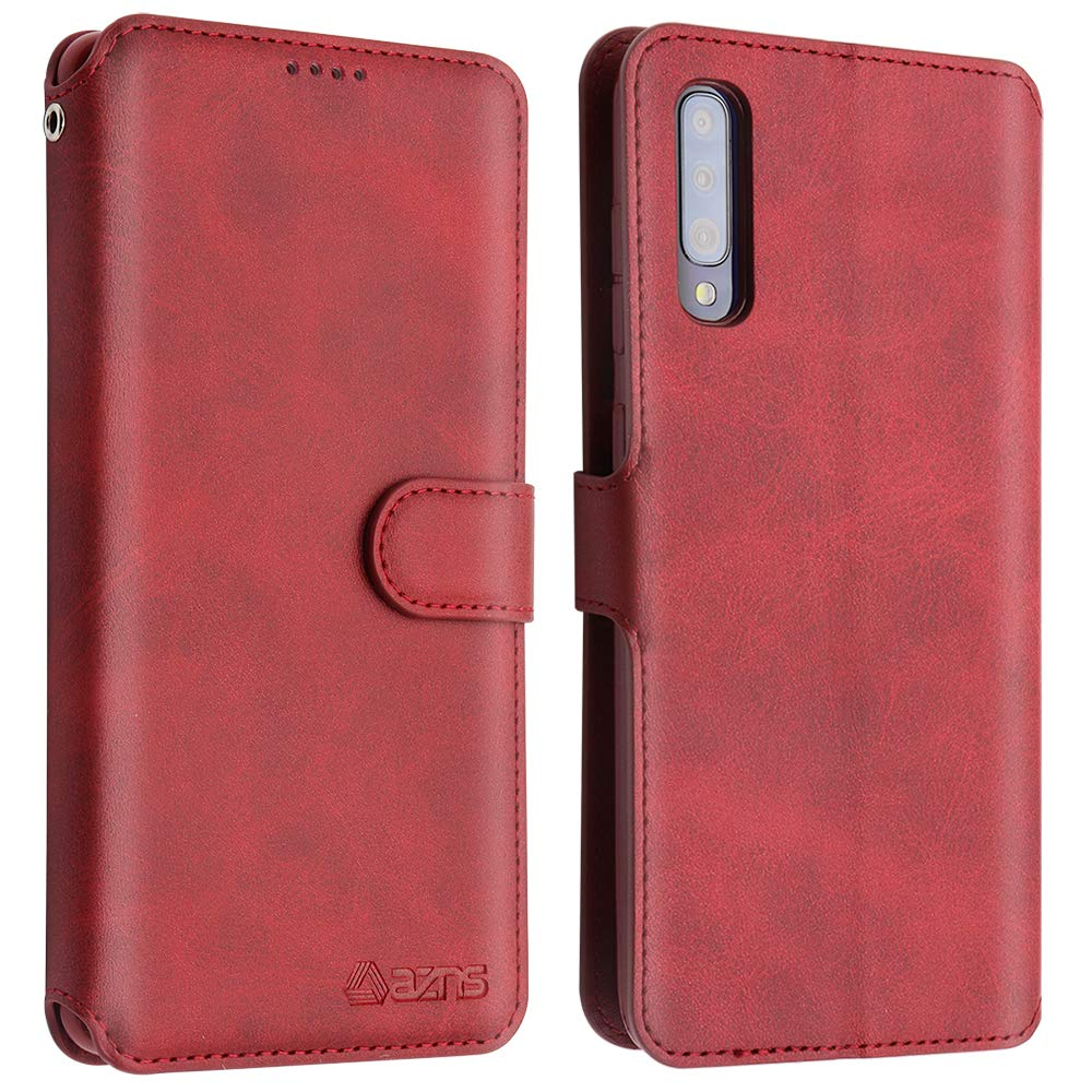Side Pocket Folio Flip with Stand Featuer Magnetic Closure Case for Samsung Galaxy A50 Anti-Scratch Premium PU Leather Galaxy A50 Wallet Case Card Slots 2019 Wine LakiBeibi Galaxy A50 Case