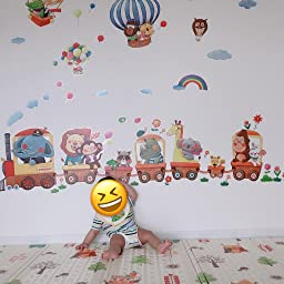 Amazon Decowall Ds 8006p8024 動物電車 動物熱気球 ウォール ステッカー デコ 幼稚園 保育園 子供部屋 小 ウォールステッカー オンライン通販