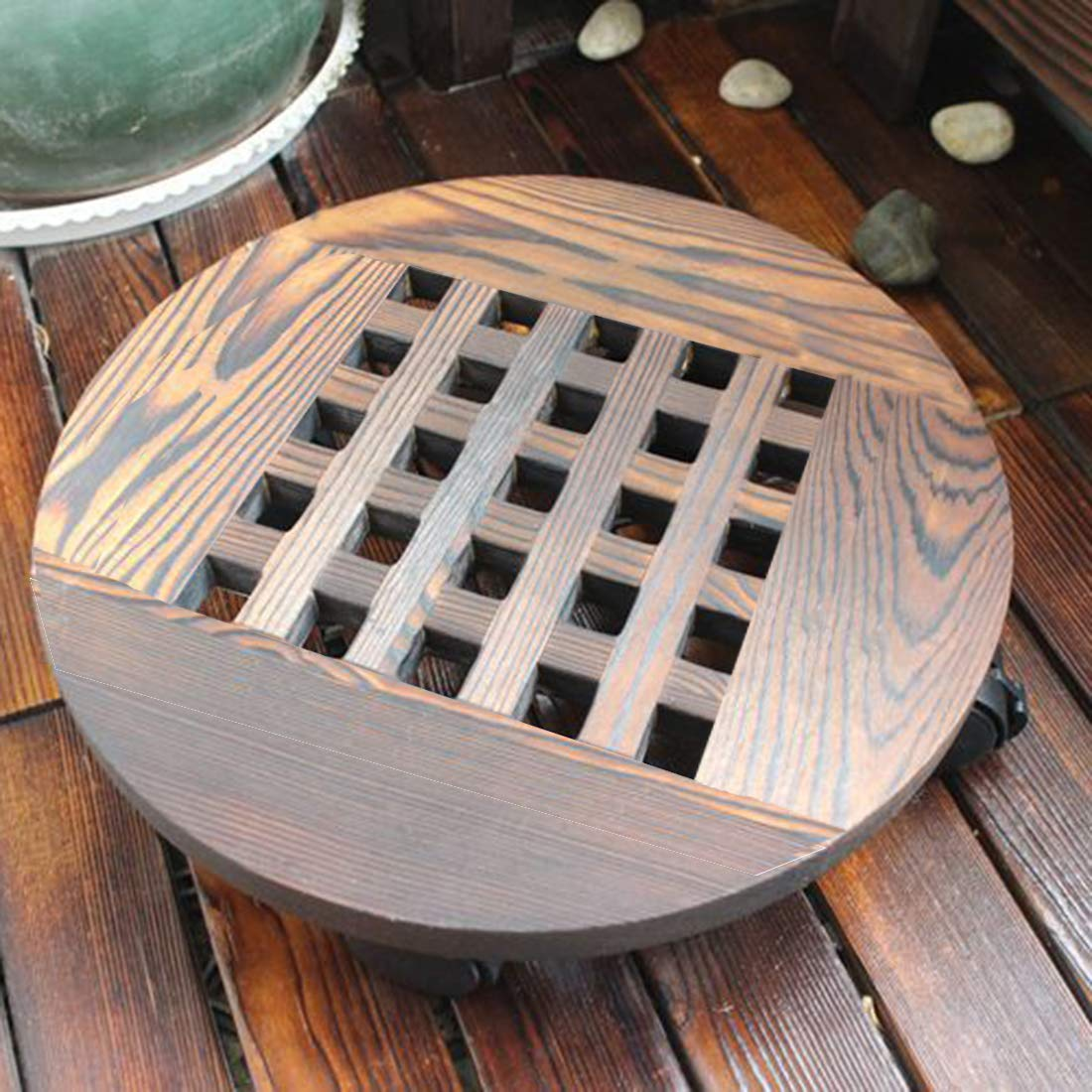 Pot Holder Round Planter Dolly with Casters Plant Caddy Indoor and Outdoor MORINN Wood Plant Stand 14 inch with Wheels