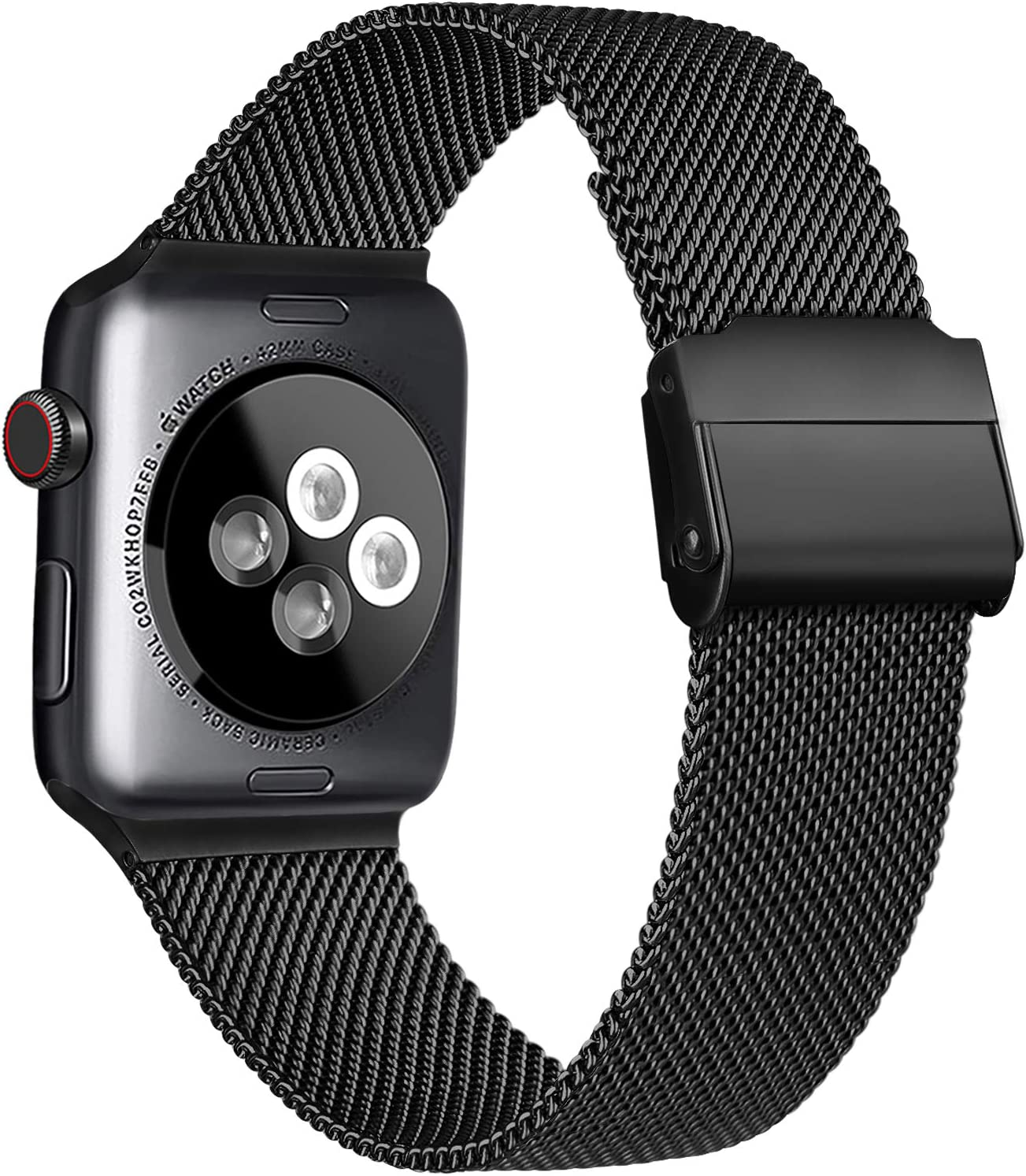 Meliya Compatible with Apple Watch Band 44mm 42mm 40mm 38mm, Stainless Steel Mesh Sport Wristband Compatible for iWatch Series SE 6 5 4 3 2 1 (38mm/40mm, Black)