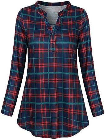 Cuello en V Camisetas Manga Larga Mujer Tumblr Kimono Otoño Mujer Camisetas Camisas a Cuadros Ropa Chandal Chaquetas Tops Sudaderas Mujer Capucha Blusa con Botón riou