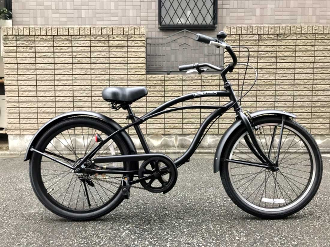 【湘南鵠沼海岸発信】ジュニア用ビーチクルーザー 《FEELING OF DECKS 22inch》 子供用自転車 22インチ B0783PMZPS ブラック×ブラック(クルーザーハンドル) ブラック×ブラック(クルーザーハンドル)