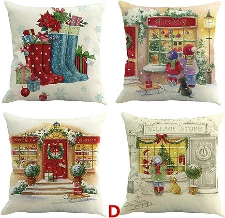 Harpily 4 Pack Fundas Cojín Navidad 45x45 Sofá Funda de Almohada Decoración de Cojines Piernas Dormir Suave Throw Pillow Case para Dormitorio (D): Amazon.es: Hogar