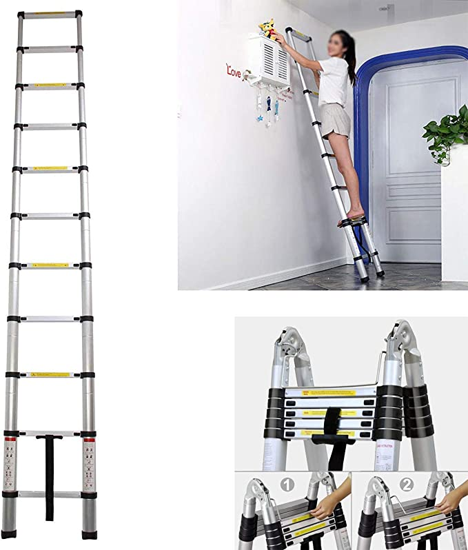 Escalera extensible plegable de aluminio de las abrazaderas telescópicas de la escalera de 3.2M - 10.5 pies de escalera antideslizante de goma de la manga: Amazon.es: Hogar
