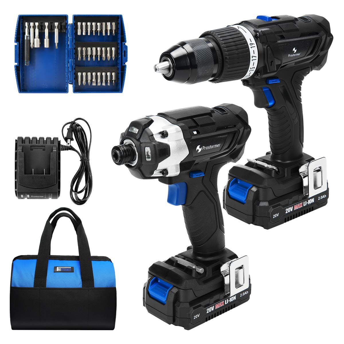Hammer Drill and Impact Driver Combo Kit, PROSTORMER 20V Max Cordless Drill Driver/Impact Driver with 2Pcs 2.0Ah Lithium-Ion Batteries, Charger Kit, 29pcs Accessories and Tool Bag by Prostormer