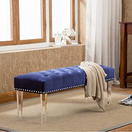 Andeworld Modern Style Ottoman Vanity Bench with Nailhead Upholstered  Ottomans & Footstools (Large, Blue Acrylic Legs)