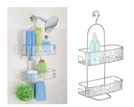 InterDesign Bubbli colgador ducha   Perchero baño para colgar en la bañera   Portaobjetos ducha   De metal color plateado
