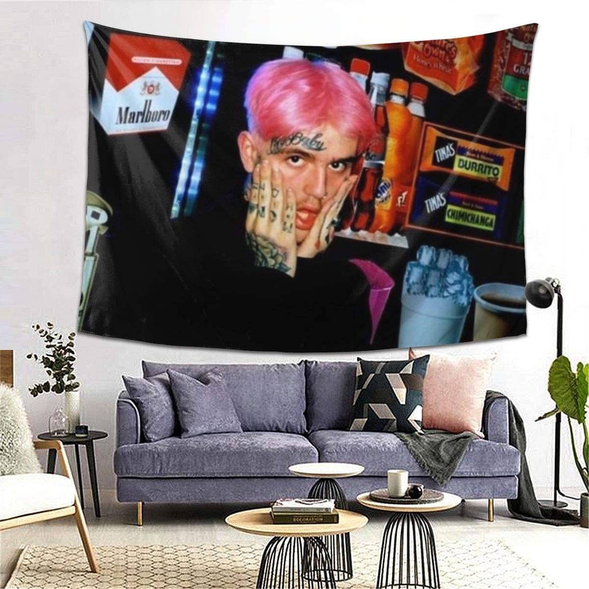 Lil Peep Art Tapestry Wall Hanging Tapestries 3D Printing Blanket Wall Art For Living Room Bedroom Home Decor 80×60